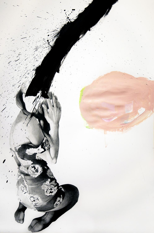 falling #10, tecnica necessaria (matite, matite colorate e smalto) su carta cm 40x50, 2017