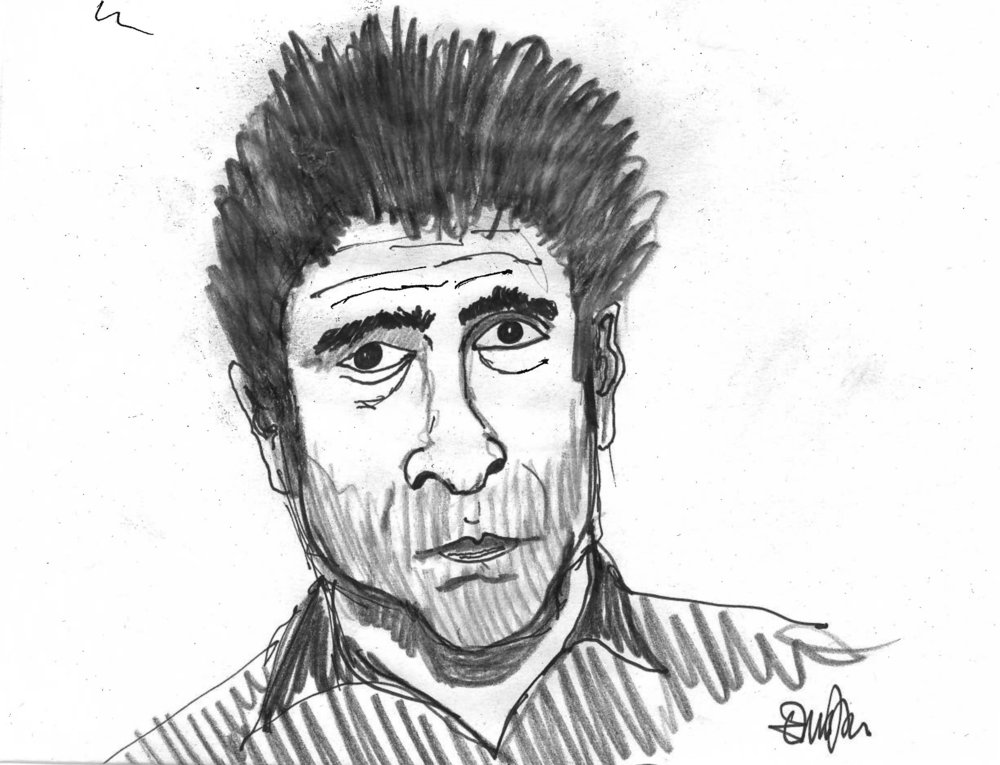 Hanif Kureishi disegnato da Enrico Bianda
