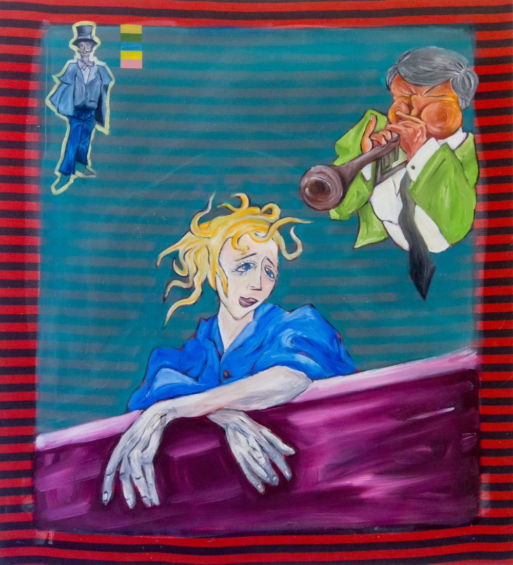 Andrea Di Marco, Senza titolo (Serenata palermitana), 1994 circa, olio su stoffa
