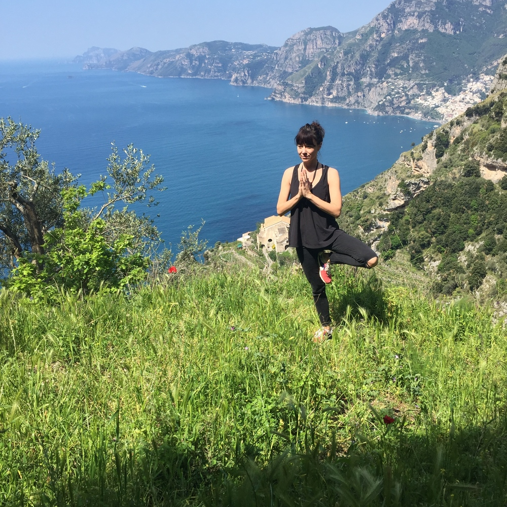 Tree pose on the path of the gods EAT.PRAY.MOVE Yoga Retreats | Amalfi Coast, Italy