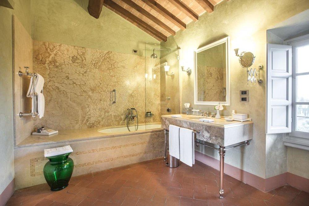 Bathroom details Castello del Nero | EAT.PRAY.MOVE Yoga | Chianti, Italy
