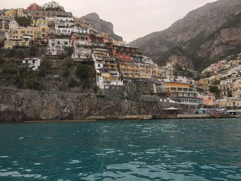 Positano from the boat EAT.PRAY.MOVE Yoga Retreats | Amalfi Coast, Italy