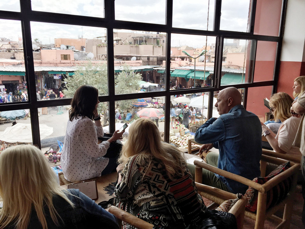 Guests overlooking the Marrakech Medina  | EAT.PRAY.MOVE Yoga Retreat | Marrakesh, Morocco