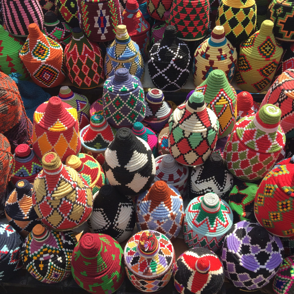 Colorful baskets Marrakech souks  | EAT.PRAY.MOVE Yoga Retreat | Marrakesh, Morocco