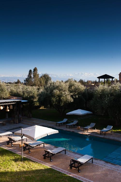 Overhead view of the pool Peacock Pavilions EAT.PRAY.MOVE Yoga Retreats | Marrakesh, Morocco