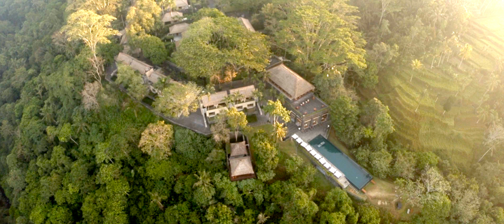 View of Alila Ubud from high above Alila Ubud EAT.PRAY.MOVE Yoga Retreats | Bali, Indonesia