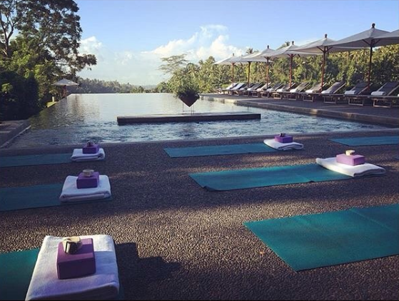 Yoga by the pool Alila Ubud EAT.PRAY.MOVE Yoga Retreats | Bali, Indonesia