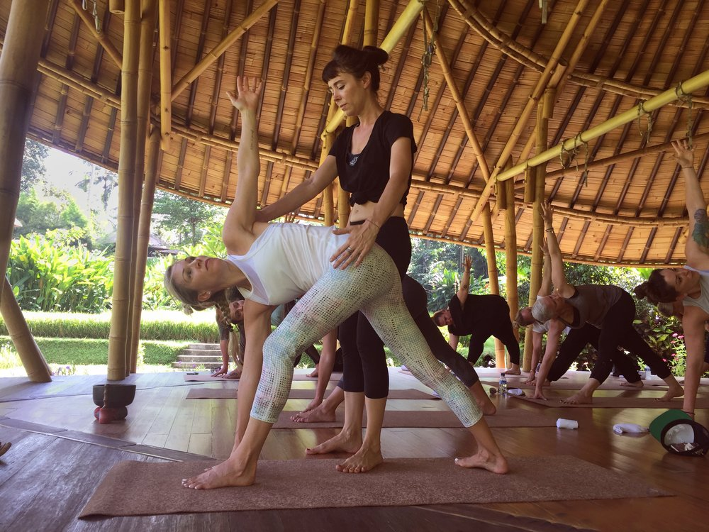 Yoga with Erin in the pavilion EAT.PRAY.MOVE Yoga Retreats | Bali, Indonesia