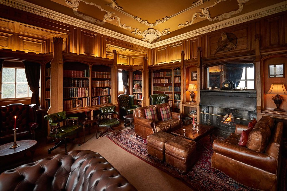 The library Dalhousie Castle | EAT.PRAY.MOVE Yoga | Edinburgh, Scotland