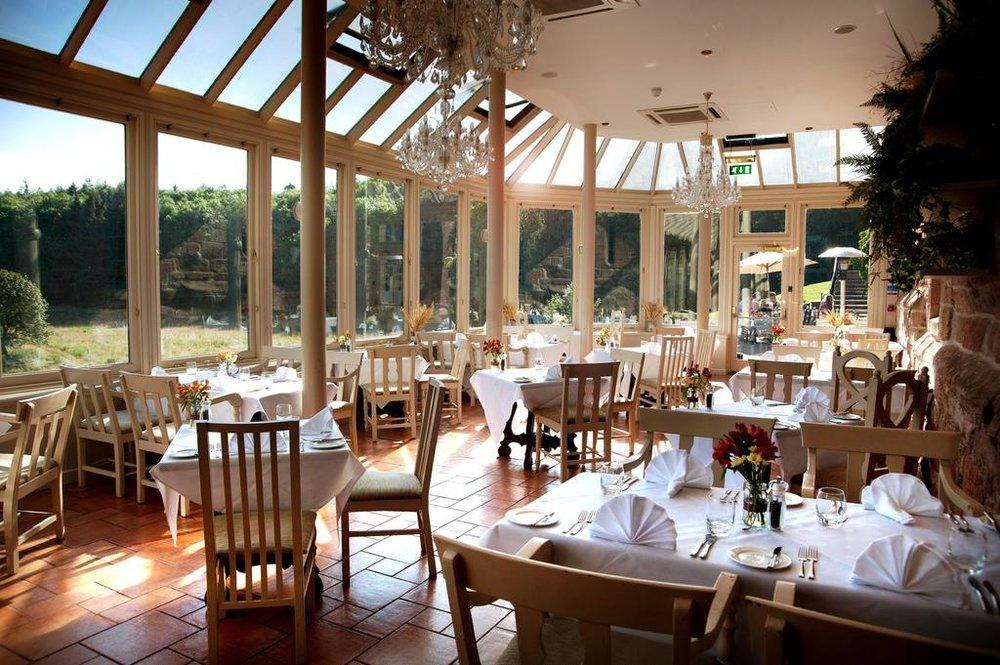 Glassed in veranda Dalhousie Castle | EAT.PRAY.MOVE Yoga | Edinburgh, Scotland