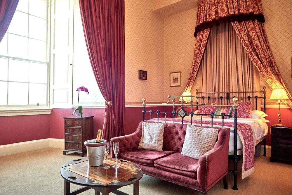 Red velvet adornments Dalhousie Castle | EAT.PRAY.MOVE Yoga | Edinburgh, Scotland