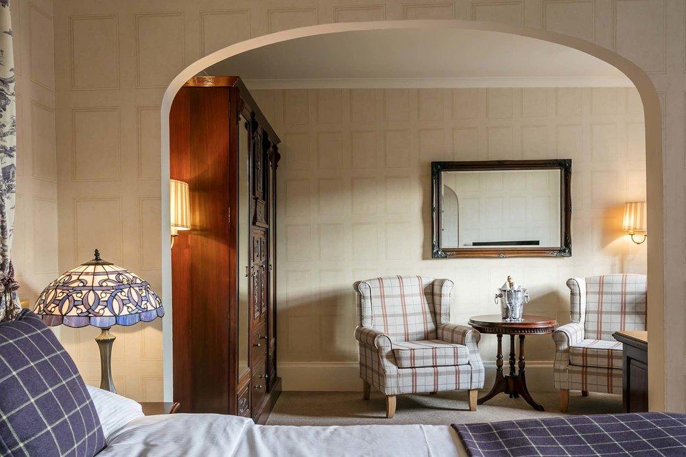 Plaid room Dalhousie Castle | EAT.PRAY.MOVE Yoga | Edinburgh, Scotland