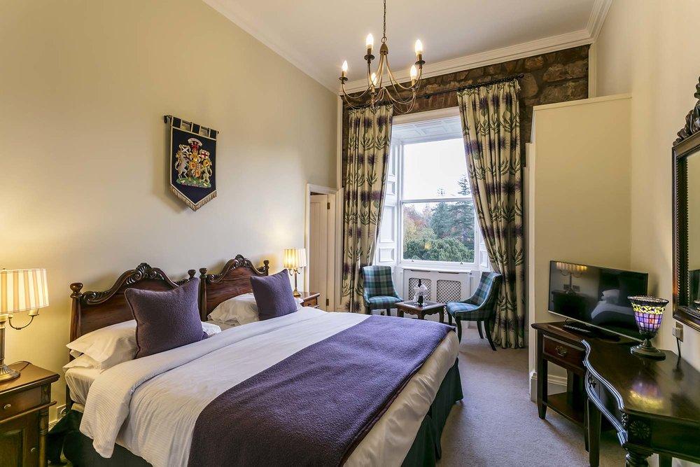 Royal purple room Dalhousie Castle | EAT.PRAY.MOVE Yoga | Edinburgh, Scotland