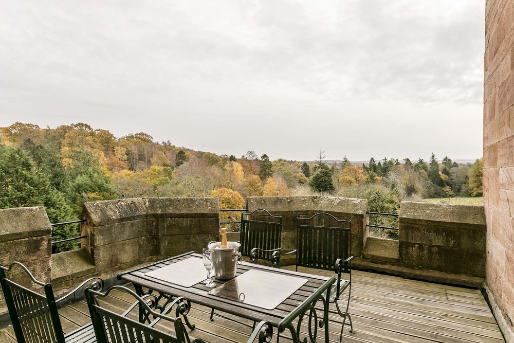Balcony view Dalhousie Castle | EAT.PRAY.MOVE Yoga | Edinburgh, Scotland