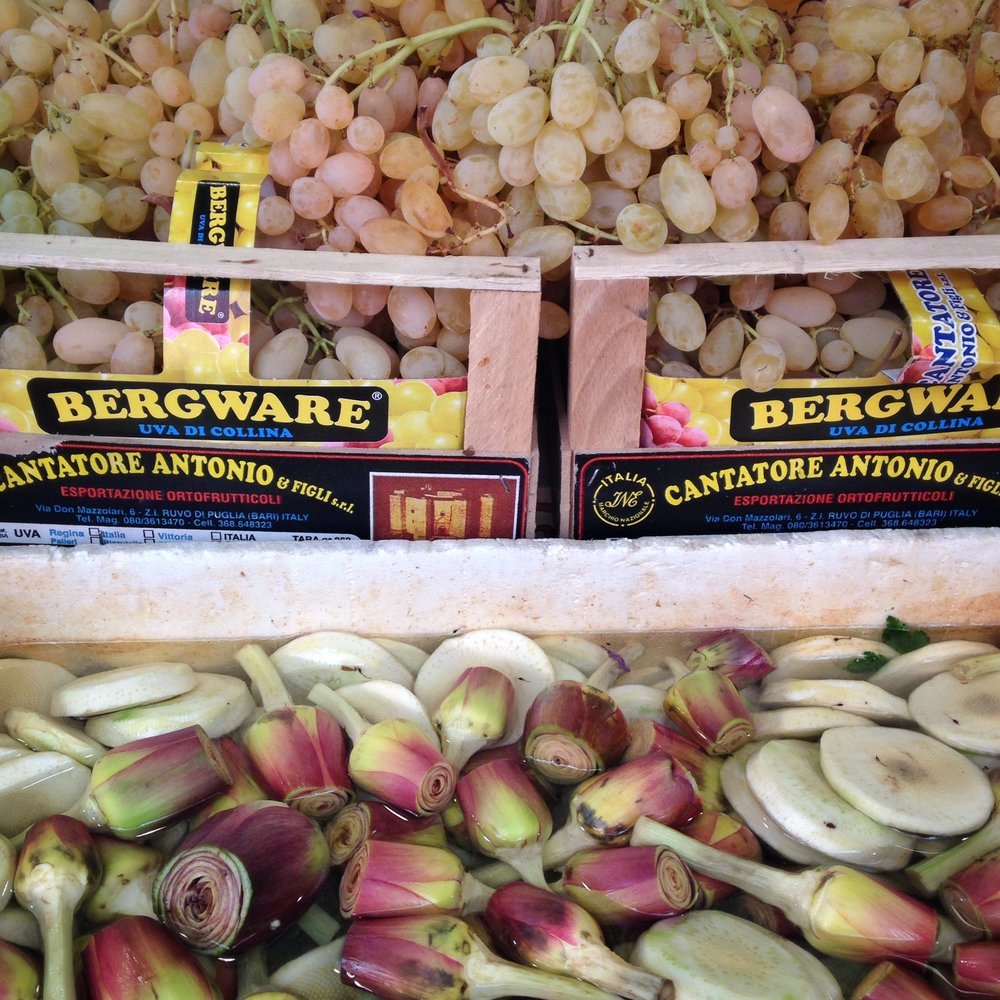 Grapes and artichokes at the market EAT.PRAY.MOVE Yoga   Venice, Italy