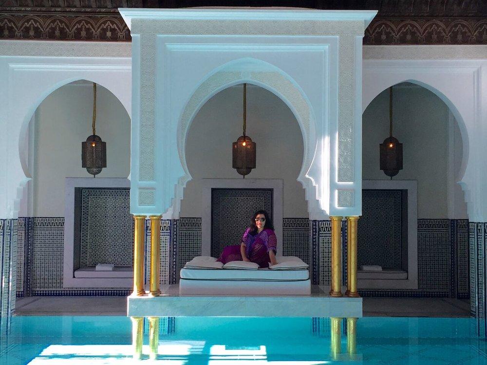 deborah at Jardin Majorelle | EAT.PRAY.MOVE Yoga Retreat | Marrakesh, Morocco