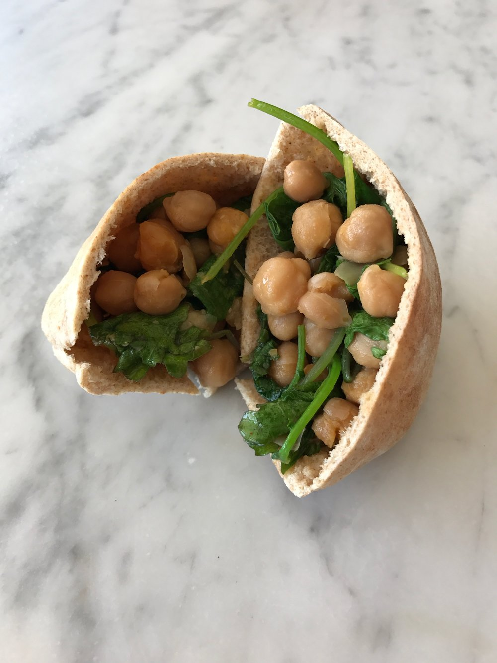 Panamanian Garbanzos with Kale Pita Pockets