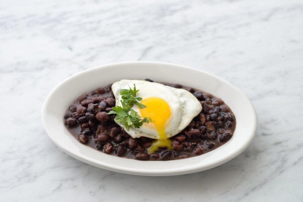 Cuban Black Beans with an egg.