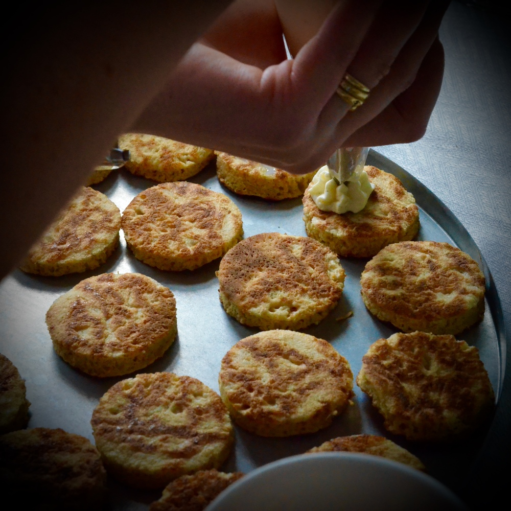 Homemade Blinis with salmon gravlax and wasabi cream- Hibiscus Dinners finger food