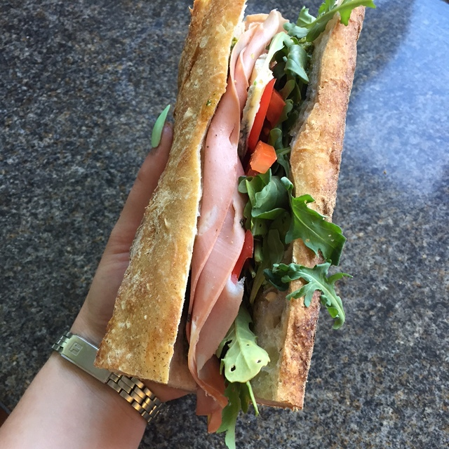 Hibiscus Dinners lunch: sandwich with Handwerk sourdough bread, mortadella and Italian gorgonzola, parsley pesto