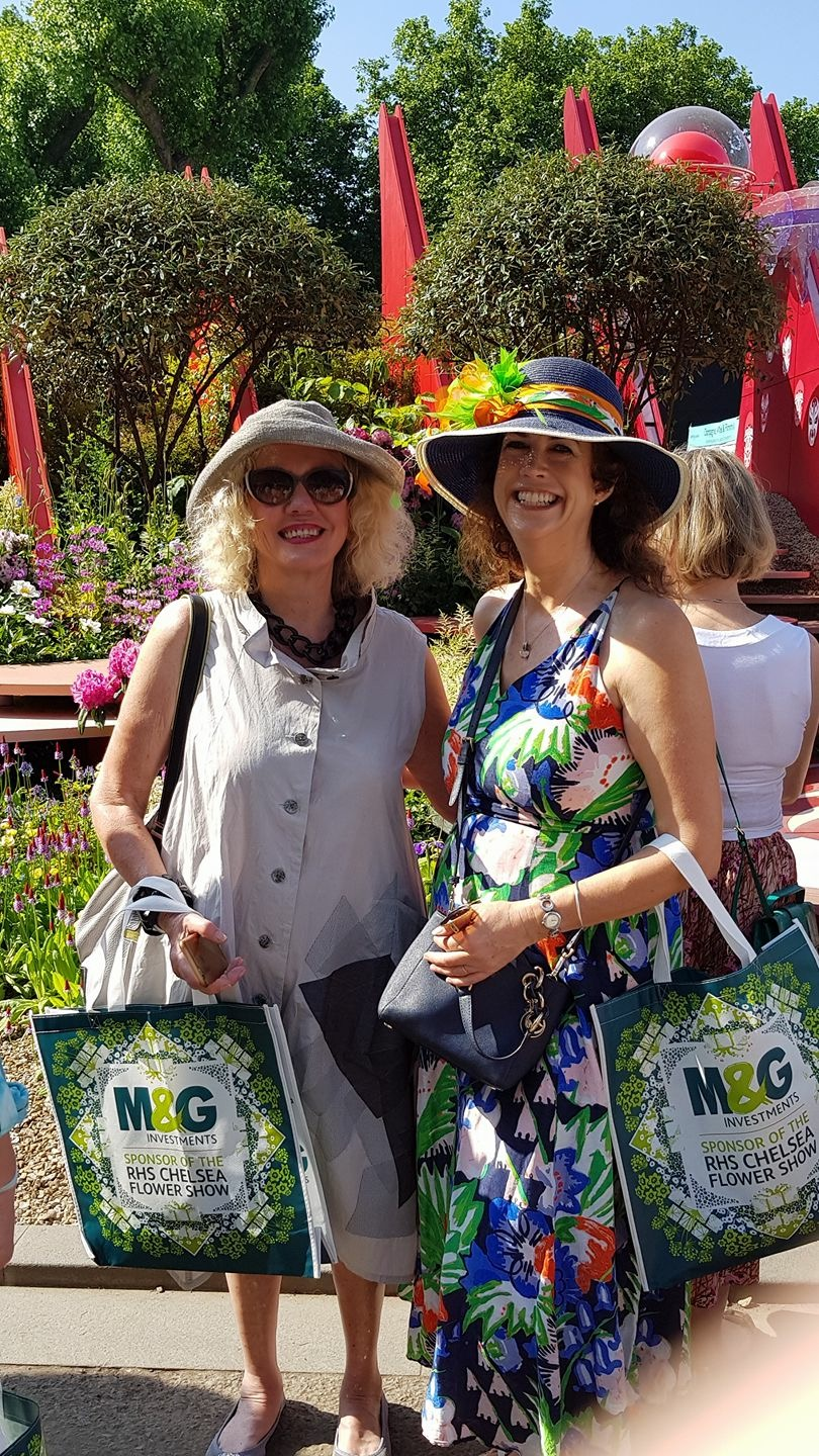 Buzz McCarthy with fellow committee member Michelle Morley at the Chelsea Flower Show Photo credit: Australian Women's Club
