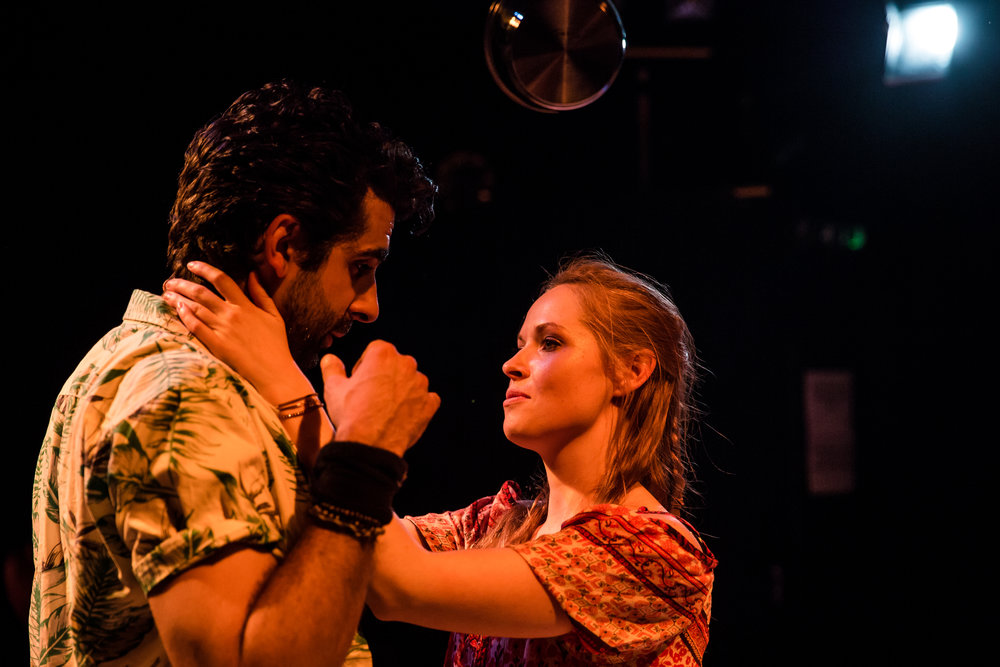 Scott Karim as Hakan (left) and Lily Newbury-Freeman as Nancy (right) in  Food, by Steve Rodgers. Photo Credit: The Other Richard