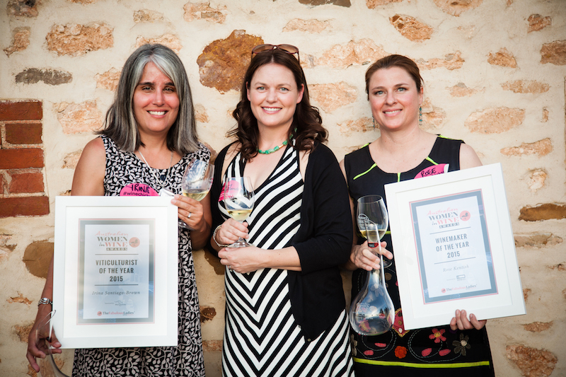 Australian Women in Wine Awards 2015. (left) Viticulturist winner Irina Santiago-Brow,  (centre) owner/operator finalist Briony Hoare,  (right)  Winemaker winner Rose Kentish.