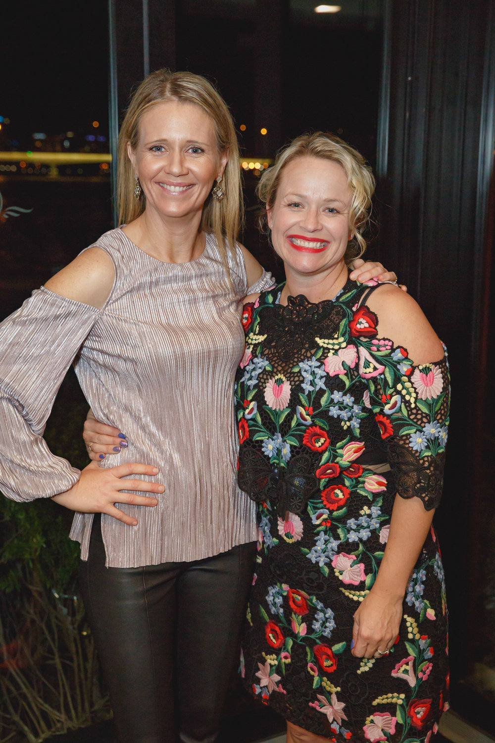 Jane Thomson with Corrina Wright. Corrina is board member with the AWIWA, legendary winemaker and CEO of Oliver's Taranga.