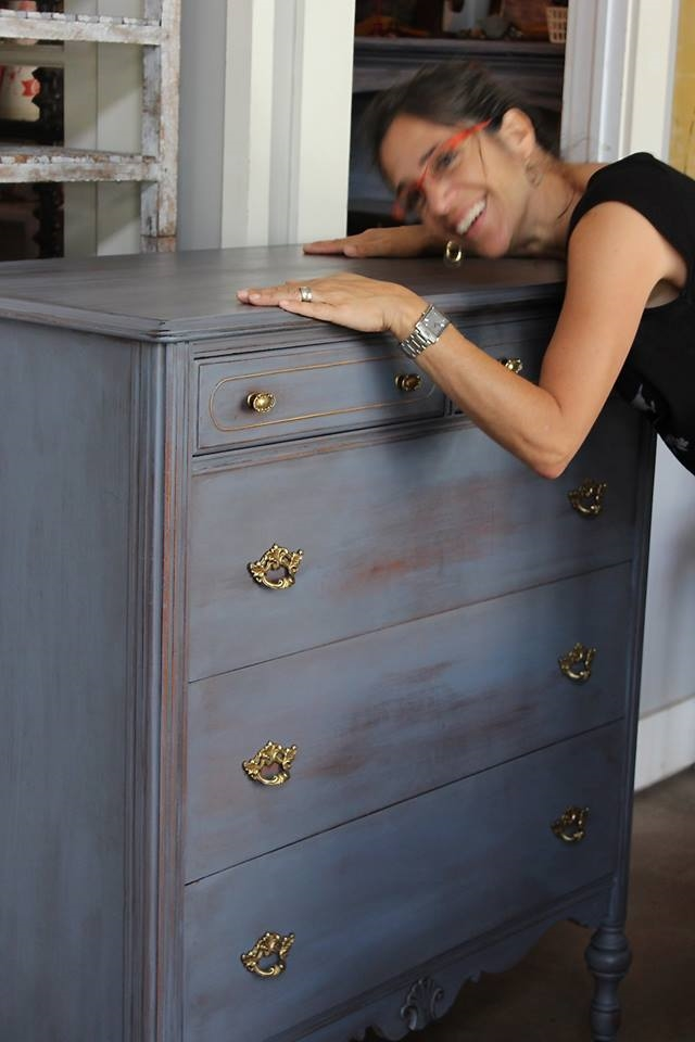 Grisel Levene with Grey Dresser