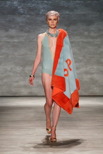 Burnt orange and mint green sheared mink beach blanket, Spring-Summer 2014. See all under collaborations at JonevonFurs.com