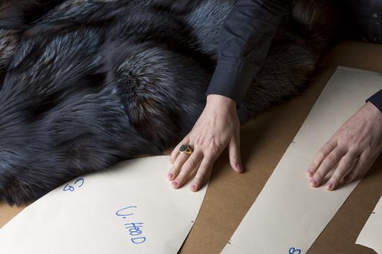 Gauging skins to pattern for custom coat. © Jonevon Furs, New York City. 212-714-0645