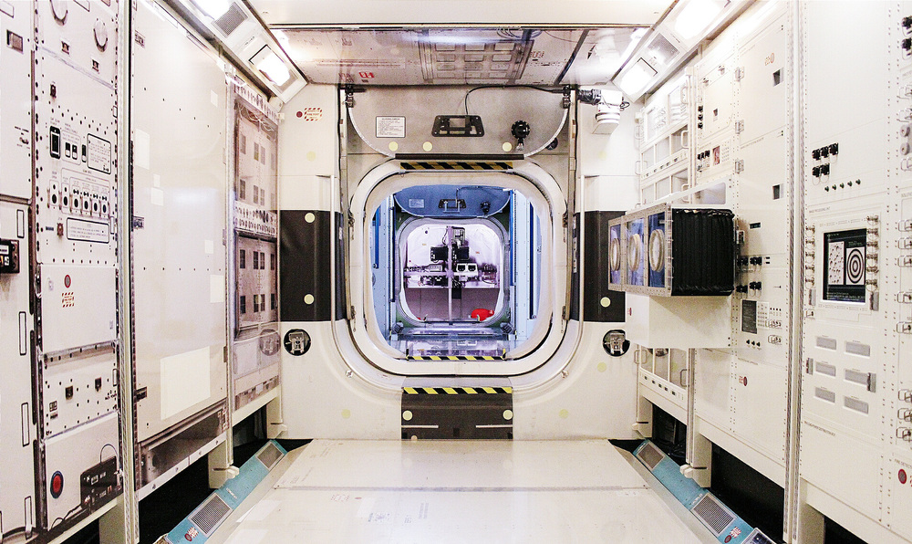 Inside the astronauts' training shuttle at NASA's Johnson Space Center in Houston, TX.