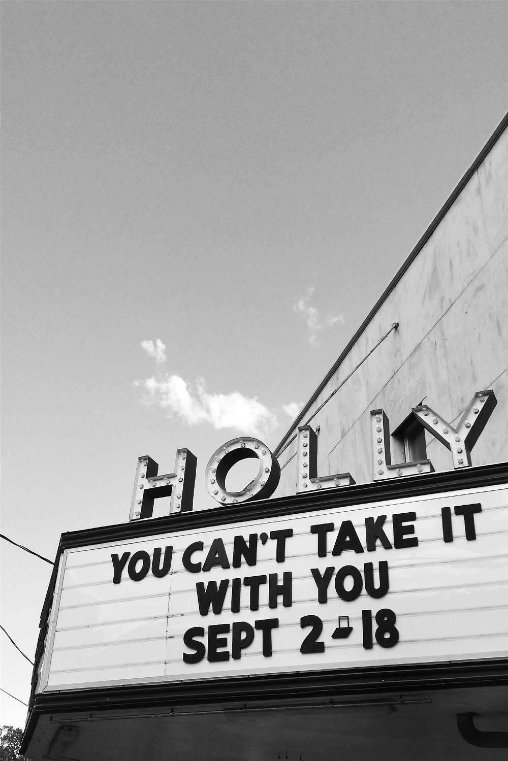 The classic marquee of Holly Theatre in Dahlonega, GA