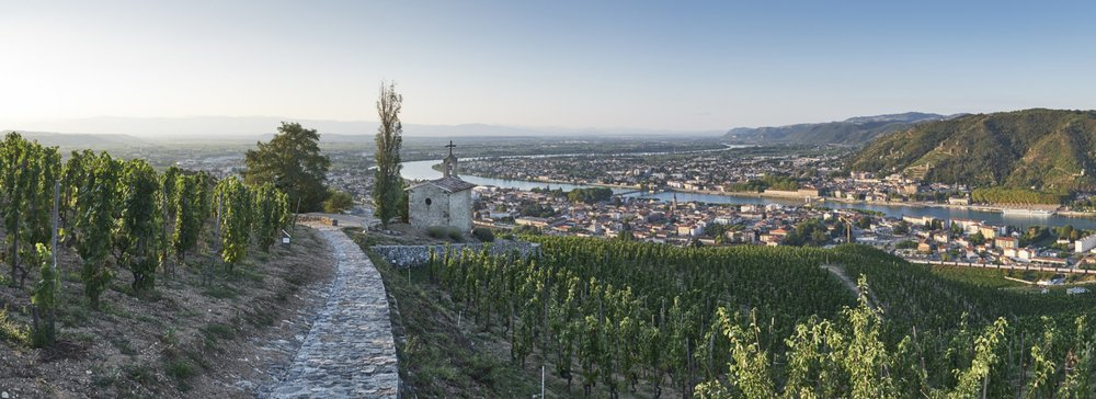 View from the top of Hermitage in the Northern Rhone looking down at the city of Tain.