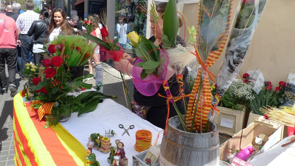 Crafting bouquets on Rambla de Catalunya