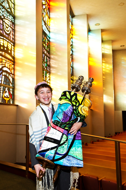 Ben`s Bar Mitzvah | Sunlight through stained glass windows | Dmitriy Babichenko, Pittsburgh Bar/Bat Mitzvah Photographer