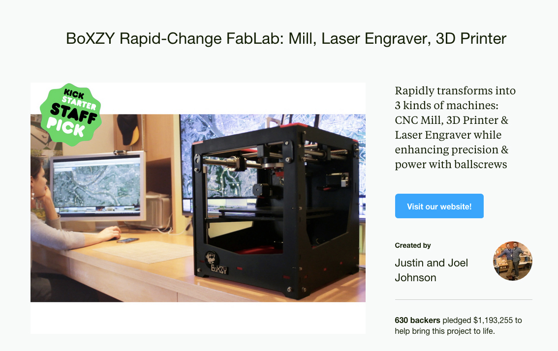 BoXZY Rapid-Change FabLab: Mill, Laser Engraver, 3D Printer