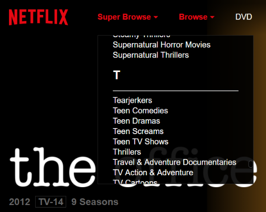 Super Browse gives you direct access to all Netflix categories.