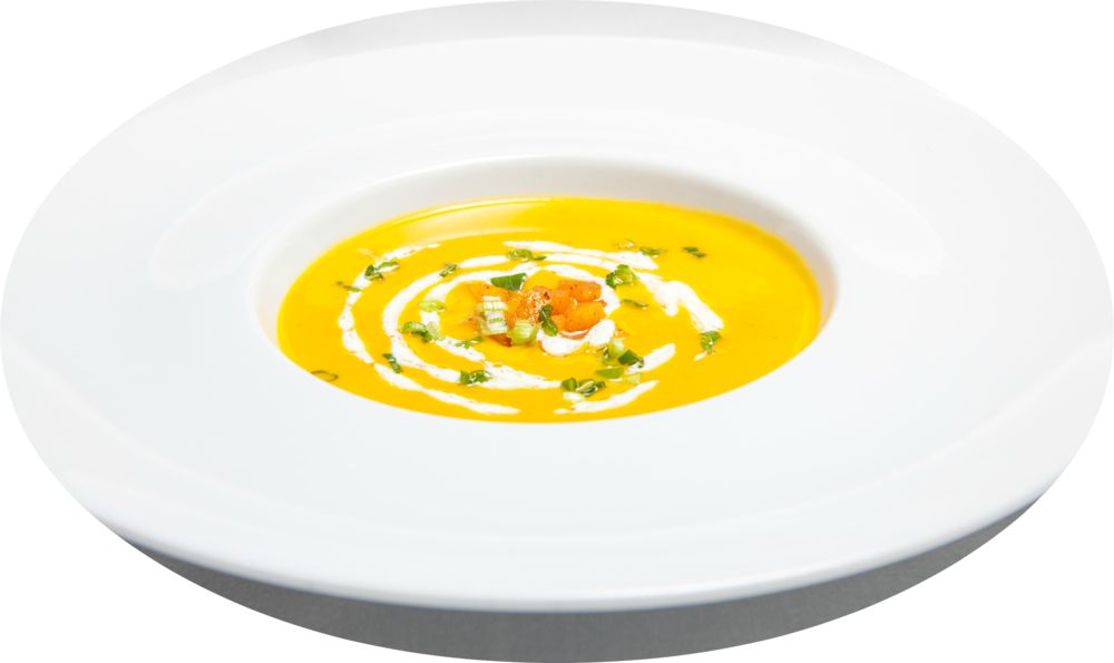Butternut Squash Soup with Creme Fraiche and Spicy Gala Apple