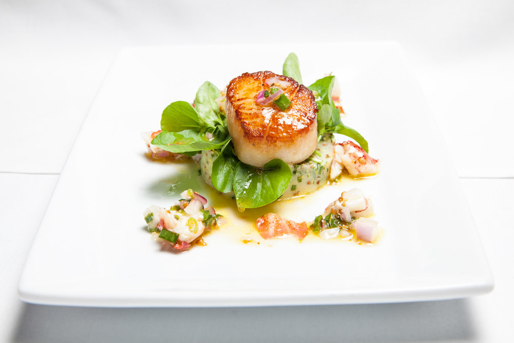 Pan Seared Diver Scallop with German Potato Salad