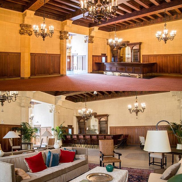 Before and after shot of the newly renovated Lounge! #nofilter #themacarthurla #lounge #weddings #events #eventdesign #laweddings #bride #luxurywedding