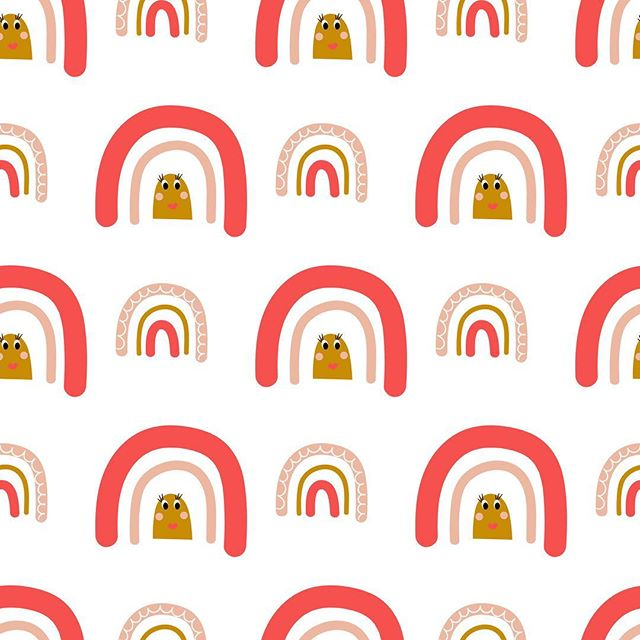 Happy pink rainbows pattern for a bright start of a new week #rainbows #happy #illustration #seamlesspattern #designerbyheart