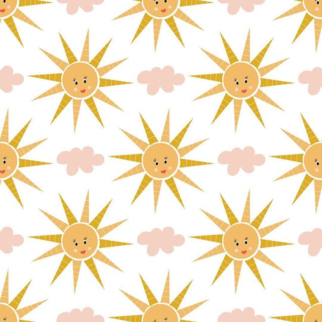 Happy sunshine repeat pattern #happy #fun #sun #sunshine #pink # clouds #illustration #pattern #designerbyheart
