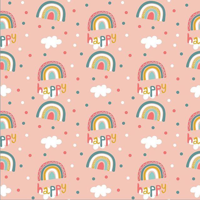 Happy Rainbow pattern #pink #rainbows #clouds #happy #illustration #seamlesspattern #designerbyheart