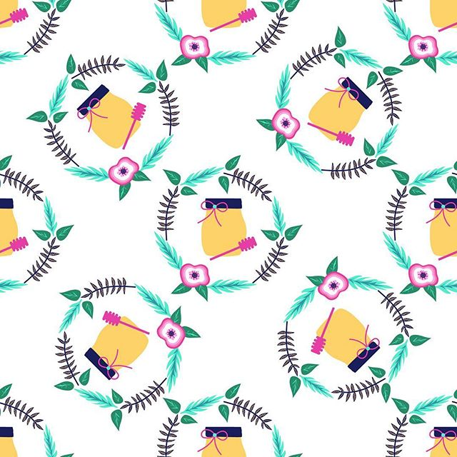 Spring is here and before we know it, it will be summer. I created a honey jar pattern with bright colors. #honey #nature #bees #spring #summer #surfacepattern  #designerbyheart