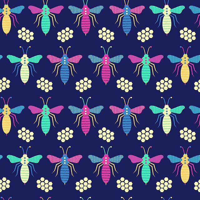 Colourful bees and and honeycomb. #honey #nature #bees #honeycomb #bright #spring #summer #illustration #surfacepattern  #designerbyheart