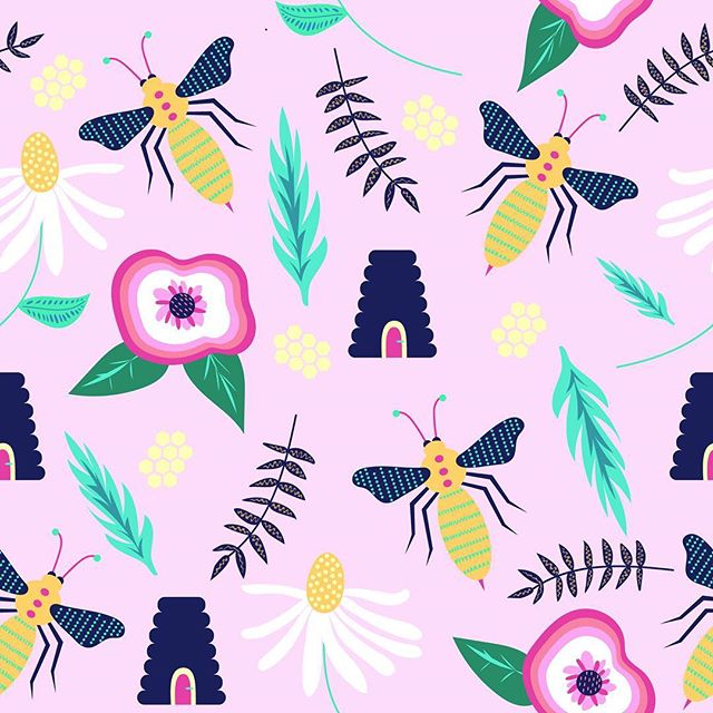Summer bees and blooming flowers #honey #nature #bees #flowers #honeycomb #pink #bright #spring #summer #illustration #surfacepattern  #designerbyheart