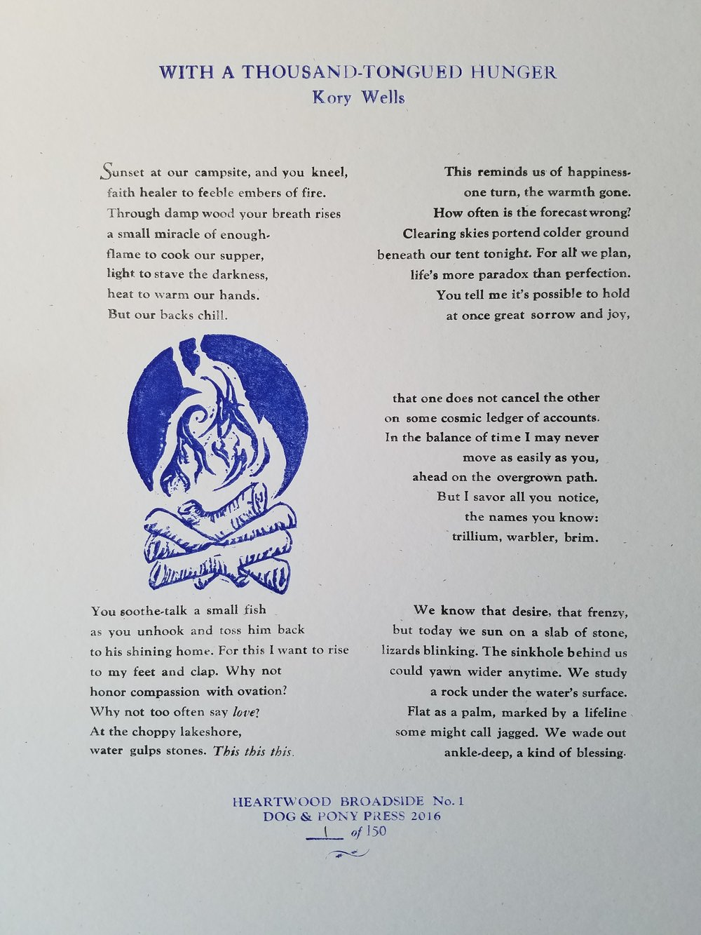Broadside created by Diane Radford, of Dog & Pony Press. Paper is 8 1/2 by 11 French Paper Muscletone 140 lb. Speckletone Starch White. The body of the piece is set in Goudy 10 point and title is in Caslon, printed on a Chandler and Price Old Style treadle operated letterpress.