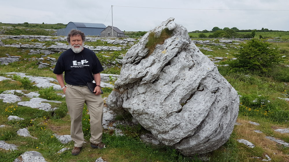 "David stands on the ""Burren,"" near an ancient Celtic ""passage grave."""