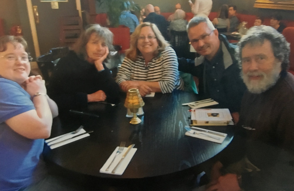 Our first dinner together in Ireland: (L-R) Elizabeth, Devon, Dee, Dave, and David. (Megan is taking the photo.)